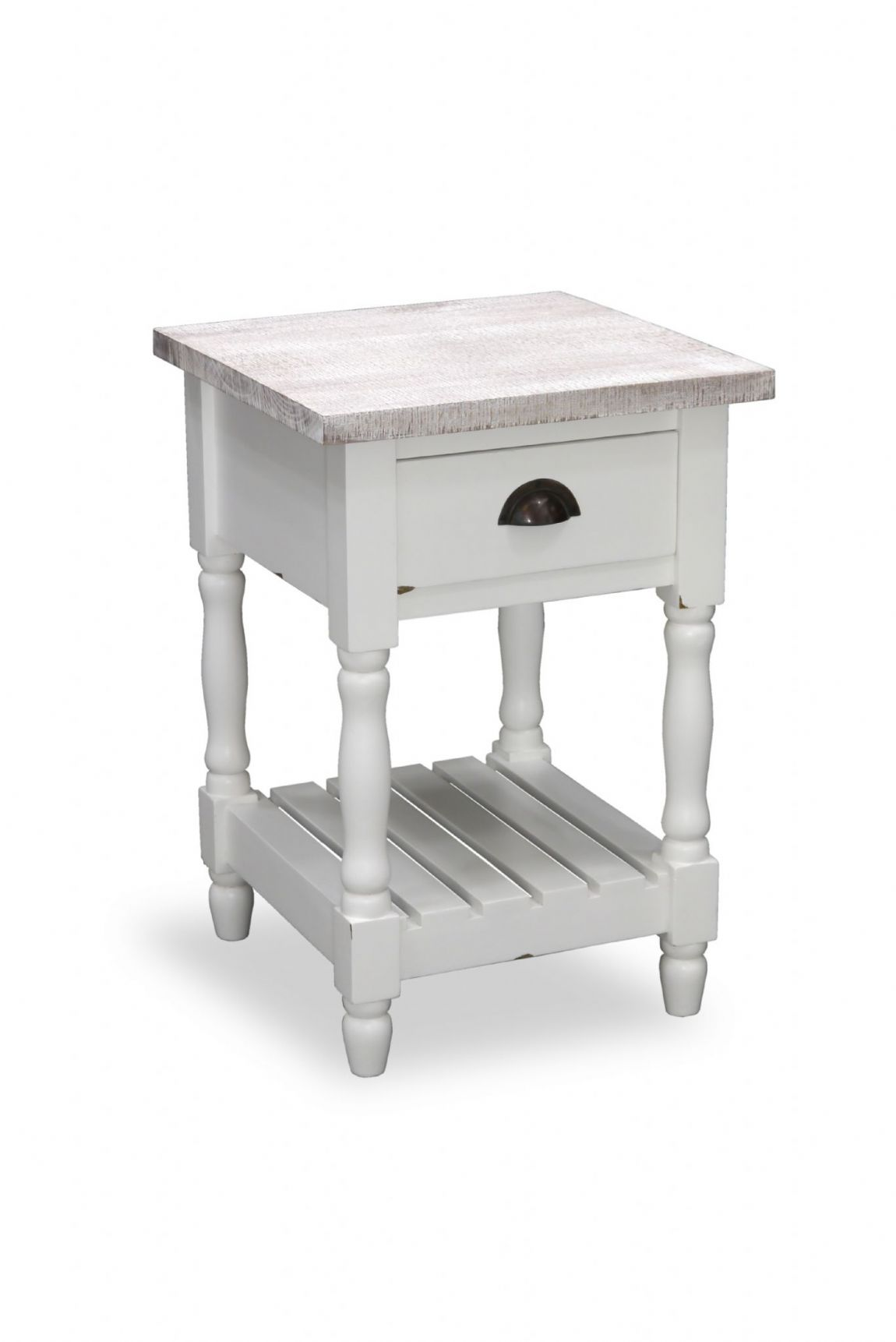 Fowey Turned Leg Side Table - White